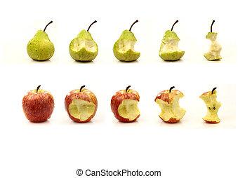 pera, essendo, mela, mangiato