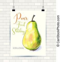 pera, frutta, mano, fondo., vettore, illustrazione, disegnato, bianco, pittura
