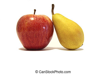 pera, isolato, mela
