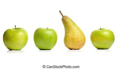 pera, tre, mele