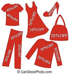 percento, abbigliamento, vendita, rosso, scontare