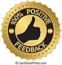 percento, feedback, positivo, golde, 100