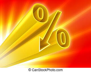 percento, scontare, dorato