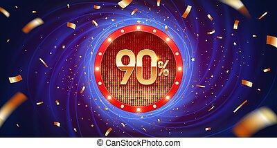percento, scontare, fondo, 90