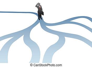 percorsi, affari, confusione, decisione, scegliere, uomo