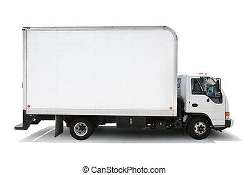 percorsi, ritaglio, isolato, consegna, fondo, camion, included., bianco