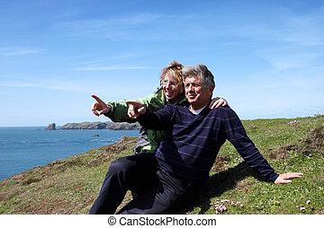 percorso, coppia, maturo, costiero, seduta