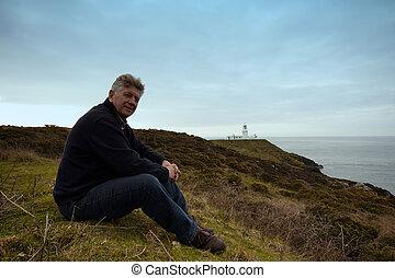 percorso, costiero, seduta, uomo, maturo