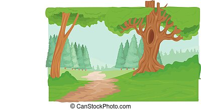 percorso, foresta, albero