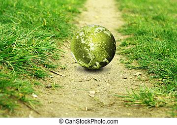 percorso, globo, verde