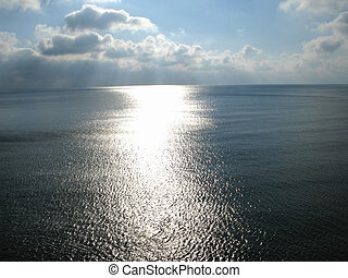percorso, mare, luce sole, superficie