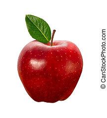 percorso, ritaglio, mela, rosso, isolato