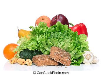 perdita, concetto, peso, verdura, dieta, mattina, frutte, colazione