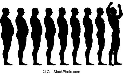perdita, peso, adattare, successo, secondo, dieta, grasso, prima
