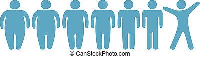 perdita, peso, persone, grasso, magro, idoneità