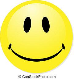 perfetto, badge., smiley, giallo, bottone, vettore, icona, miscela, shadow., emoticon.