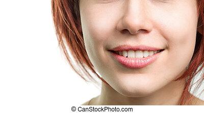 perfetto, fresco, labbra, donna, denti