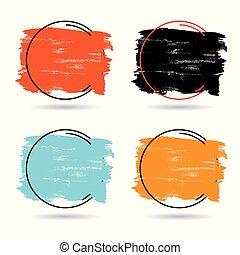 perfetto, set, grunge, titolo, banner., manifesto, sopra, struttura, vernice, colpo, disegno, spazzola, vector., logotipo, acrilico, cornice