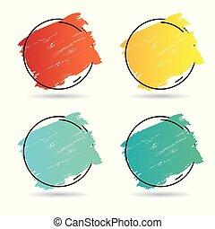 perfetto, set, grunge, titolo, manifesto, sopra, struttura, vernice, colpo, disegno, spazzola, vector., logotipo, acrilico, bandiera, cornice