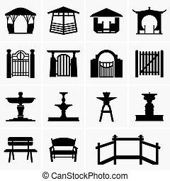 pergole, fontane, panche, cancelli