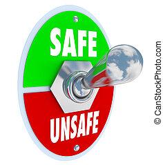 pericolo, sicuro, pericoloso, interruttore, leva articolata, vs, sicurezza, scegliere, o