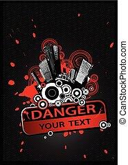pericolo, text., segno, cityscape, posto, fronte, tuo