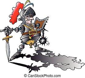 pericoloso, armatura, orgoglioso, cavaliere