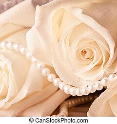 perla, perline, crema, rosa