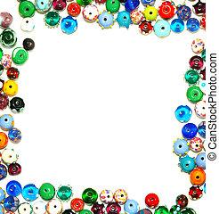 perline, cornice, testo, -, vetro, formare, bianco, bordo