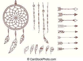 perline, ricevitore, penne, frecce, mano, americano, disegnato, sogno, nativo