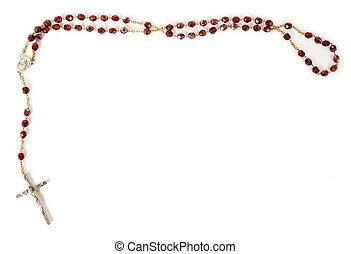 perline, rosario, bianco, isolato