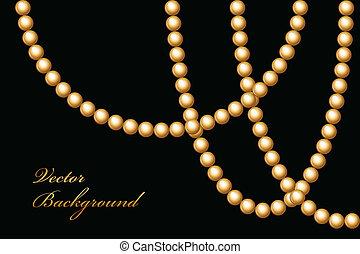 perline, vettore, illustrazione, oro