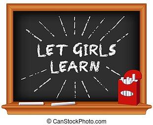 permettere, ragazze scuola, lavagna, learn!