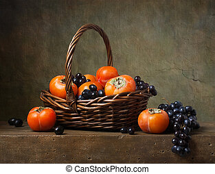 persimmons, vita, cesto, uva, ancora