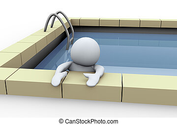 persona, 3d, stagno, nuoto