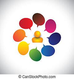 persona, anche, concetto, chiacchierata, &, confusione, creatività, vettore, uomo, ideas., ecc, grafico, rappresenta, opinioni, domande, segni, dubbio, domande, o, indicare, icona