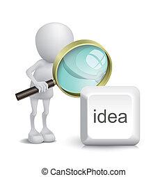 persona, bottone, osservare, idea, vetro, ingrandendo, 3d