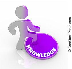 persona, bottone, su di, conoscenza, avanzando