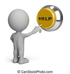 persona, bottone, urgente, aiuto, 3d