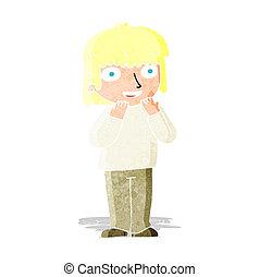 persona, cartone animato, eccitato