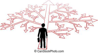 persona, confondere, decisioni, affari, percorso