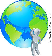 persona, dall'aspetto, argento, globo, su, concetto