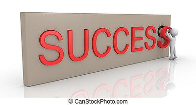 persona, finitura, parola, successo, 3d