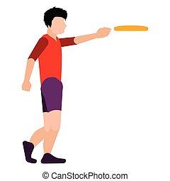 persona, frisbee, isolato, gioco