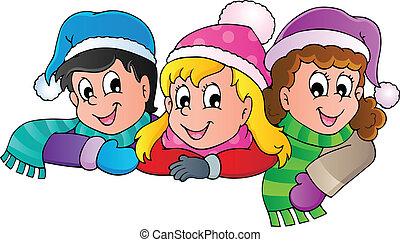 persona, immagine, inverno, cartone animato, 4
