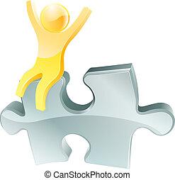 persona, jigsaw, oro, pezzo