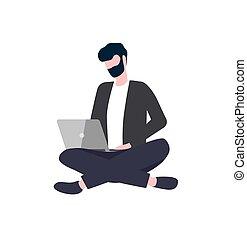 persona, laptop, vettore, a gambe incrociate, seduta