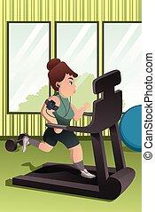 persona, palestra, sovrappeso, correndo, routine