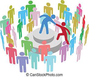 persona, parlare, gruppo, aiuta, condottiero