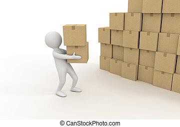 persona, scatole, mucchio, piccolo, cartone, 3d